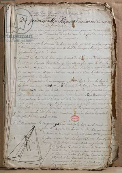 Ms 198 Page from 'Traite des Sections Coniques', 1788 (pen & ink on paper)