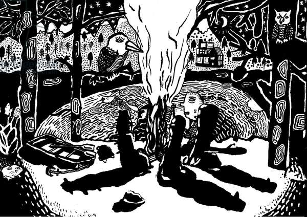 fire in the woods (ink and brush)