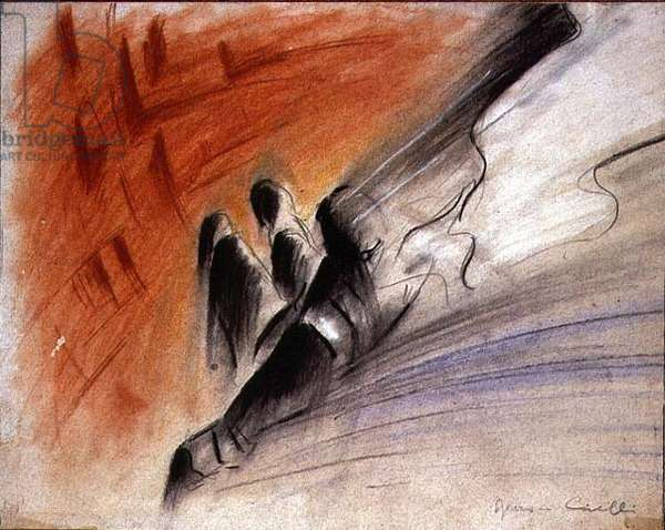 Parachutist (crayon, pastel on paper)