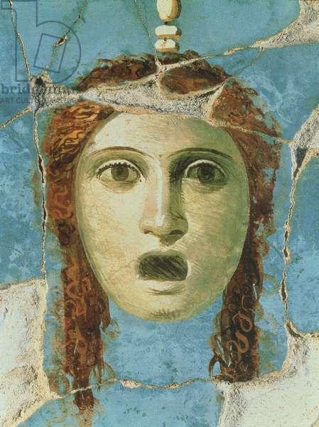 Wall painting of a female head, Pompeii, 1st century AD (fresco)