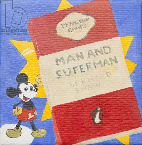 Penguin book with Micky Mouse (acrylic)