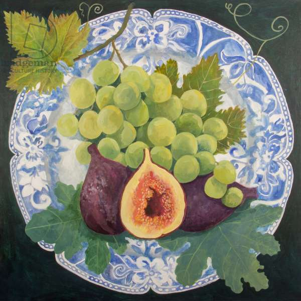 Figs and Grapes on a Plate, 2018 (acrylic on canvas)