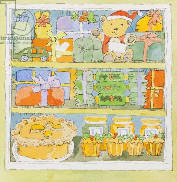 Christmas cupboard interior (watercolour)