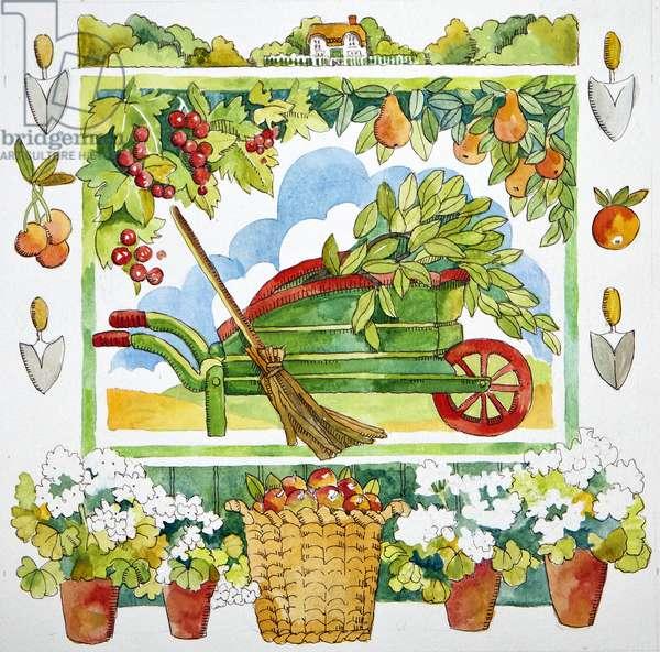 Wheelbarrow - garden surround, 2012, watercolour