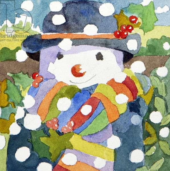 Snowman in snow, 2011, (watercolour)