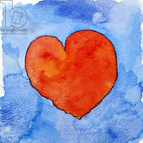 Red heart on blue, 2011, (watercolour)