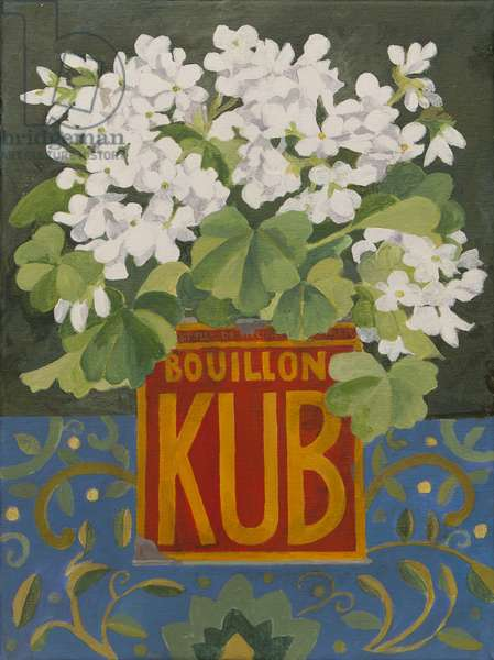 White geraniums in old stock cube tin (acrylic)
