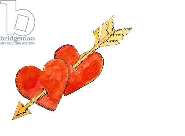 Two hearts - arrow, 2011 (watercolour)