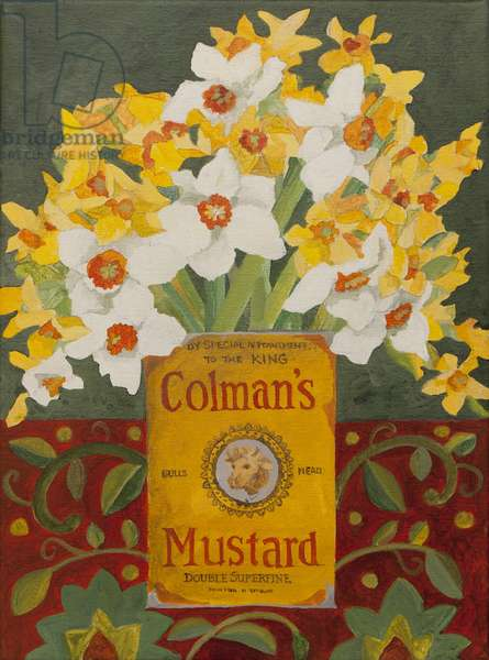 White and yellow narcissi in Colman's mustard tin (acrylic)