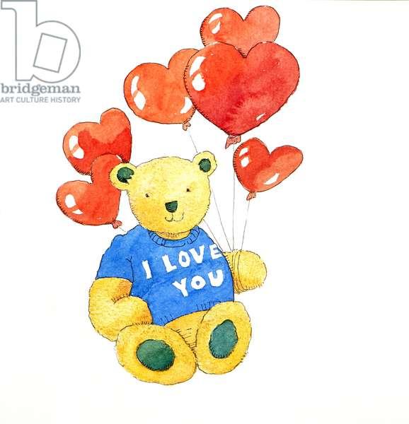 I love you bear - balloon, 2011, (oil on canvas)