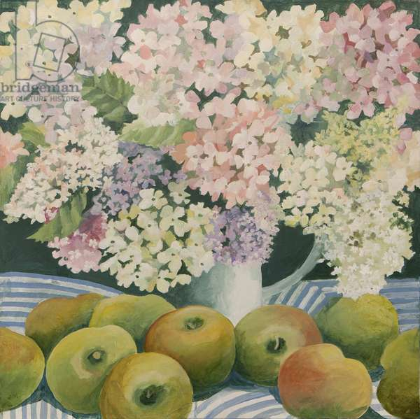 Hydrangeas and cooking apples (acrylic)