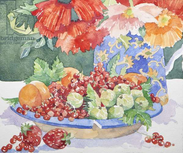 Fruit on a plate, 2014, watercolour