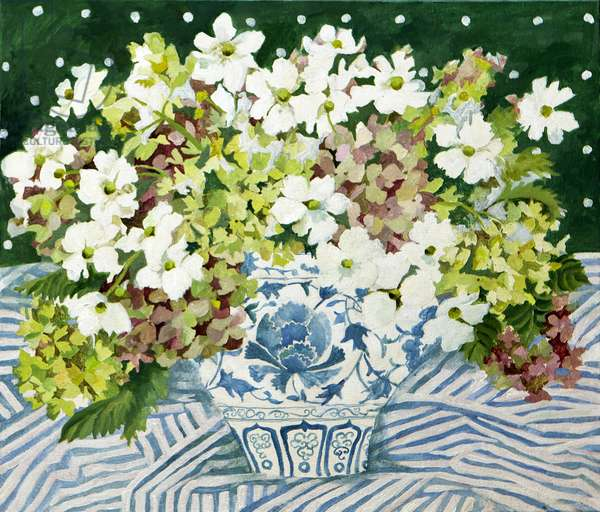 Cosmos and hydrangeas in a chinese vase, 2013, (acrylic on canvas)