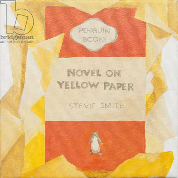 Penguin book cover. Novel on yellow paper (acrylic)