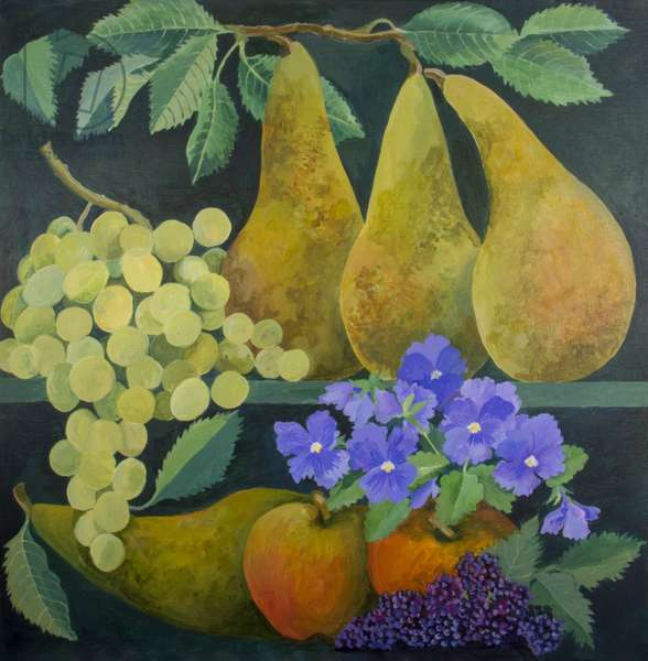 Pears and Grapes, 2018 (acrylic on canvas)