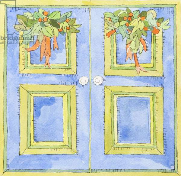 Christmas cupboard doors (watercolour)