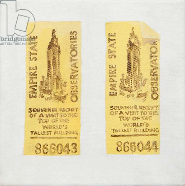 Old ticket of Empire State Building (acrylic)