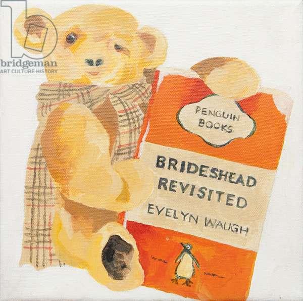 Penguin book with teddy bear (acrylic)