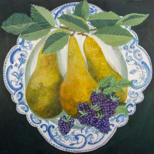 Pears on a Plate, 2018 (acrylic on canvas)