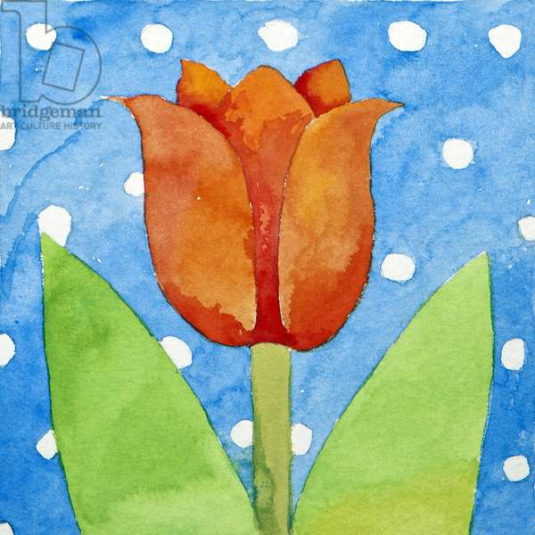 Tulip blue white spot background, 2013, (watercolour)