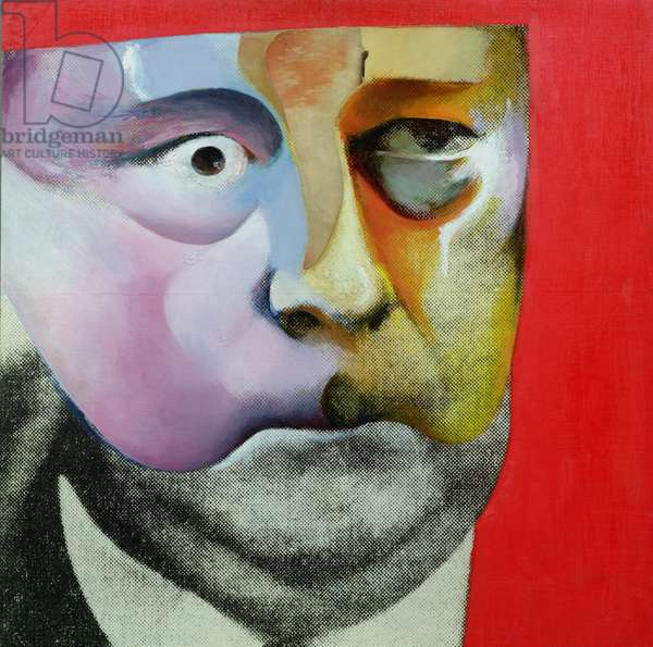 Portrait of Hugh Gaitskell as a Famous Monster of Filmland, 1964 (oil and photomontage on panel)