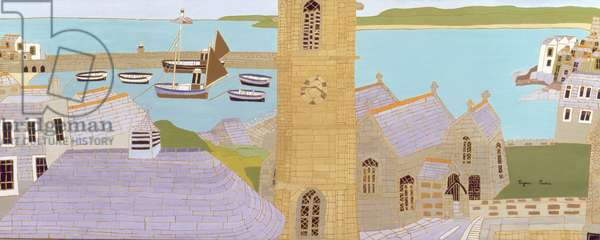 The Harbour and St. Ia's Church, St. Ives, 1967 (oil on board)