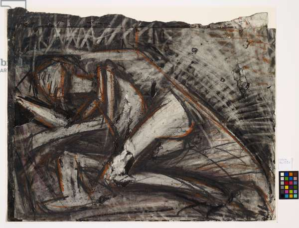 Nude on a bed II, 1974 (charcoal and chalk on paper)