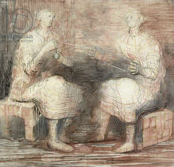 Women winding wool, 1948 (pencil, chalk and wash)