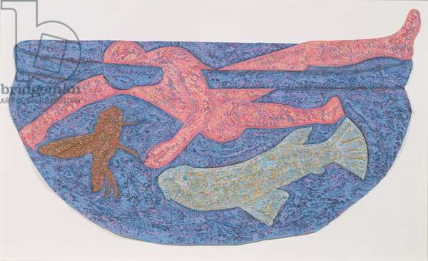 Pressed against Good and Evil, 1987-88 (sand & acrylic on muslin-backed paper)