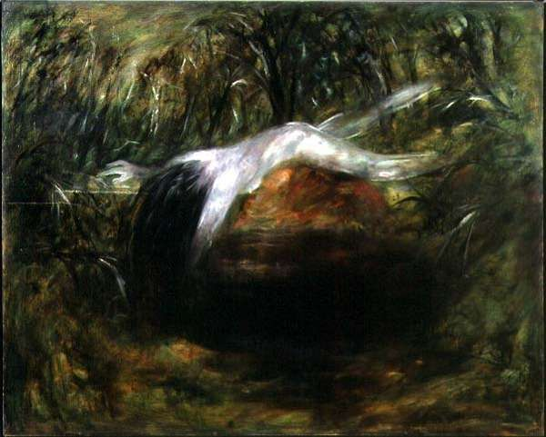 Nude Floating over a Dark Pond II, 1962 (oil on board)