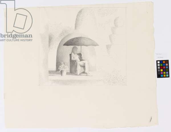 Girl Sitting in a Garden, 1974 (pencil on paper)