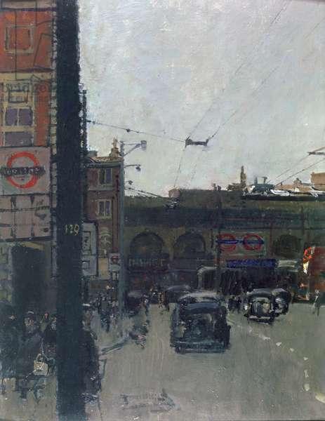 Hammersmith Broadway, 1950 (oil on board)