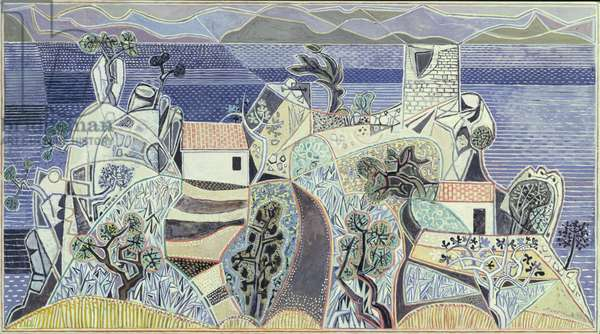 Landscape, Hydra, 1960-61 (Polyfilla and tempera on board)