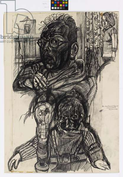 Self Portrait with David, Jean in Background, 1956 (pencil on paper)
