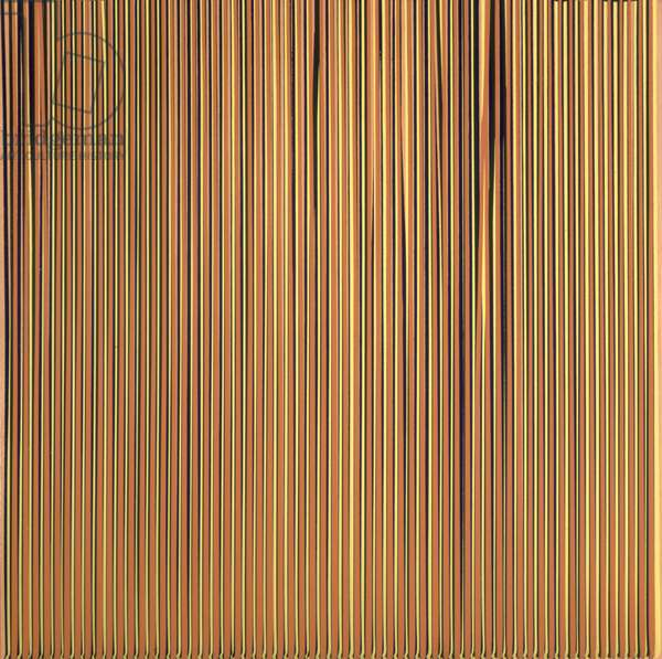 Poured Lines; light orange, blue, yellow, dark green and orange, 1995 (household paint on canvas)