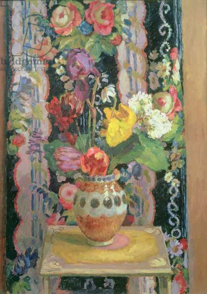 Flowers Against Chintz, 1956 (oil on board)