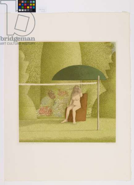 Girl Sitting in a Garden, Unknown to Me, 1974 (screenprint)