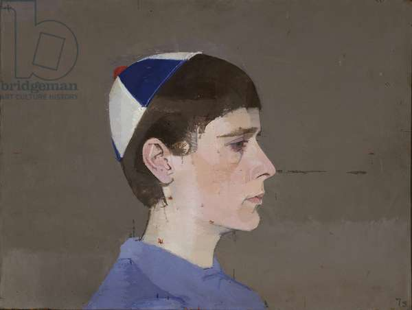Girl's Head in Profile with Cap On, 1963 (oil on board)