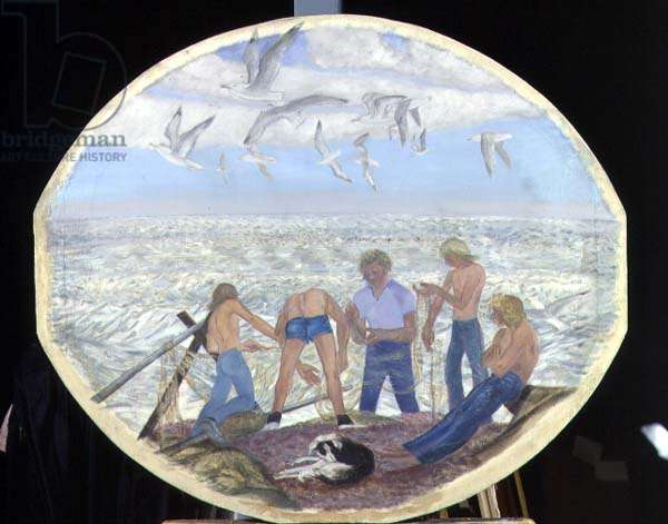 Paul, Michael, Stephen and Tim in Summer, 1977-79 (oil on board with sand)