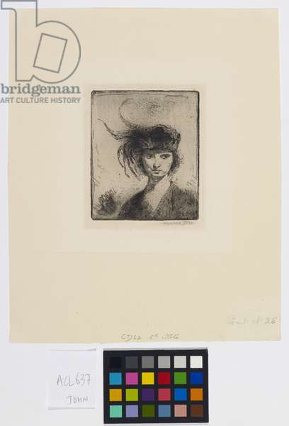 Ann with a Feather, 1970 (etching)