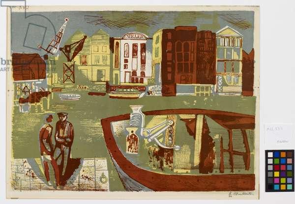 Thameside, 1970 (colour litho)