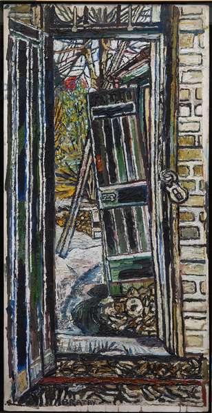 Coach House Door, 1959 (oil on board)