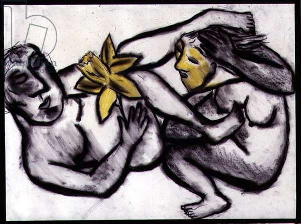 Showing Off the Daffodil, 1984 (charcoal and pastel on paper)