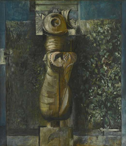 Standing form against hedge, 1950 (oil on canvas)