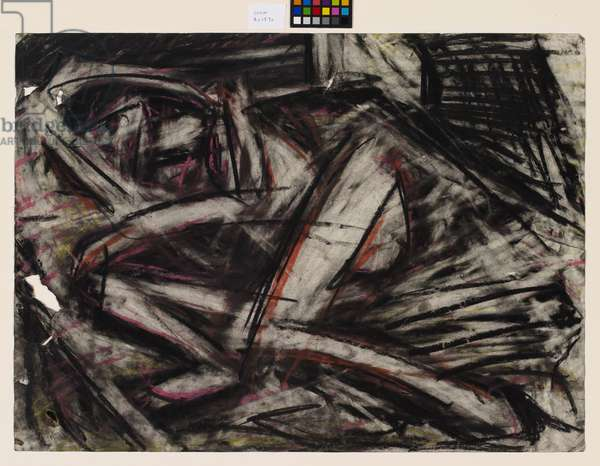 Nude on a bed I, 1974 (charcoal and chalk on paper)