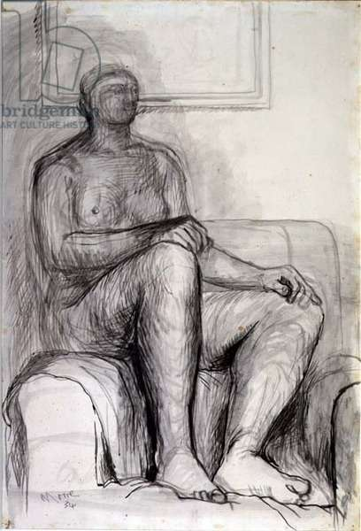 Seated Figure: life drawing, 1934 (pen & ink, pencil and wash)