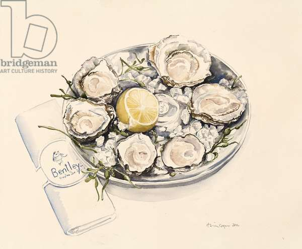 A Plate of Oysters, 2012 (w/c on paper)