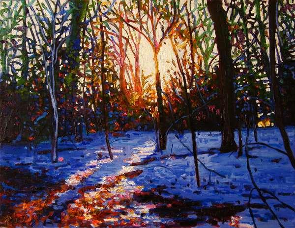 Sunset on snow, 2010, (oil on canvas)