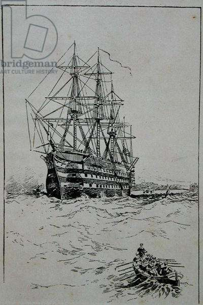 'Victory' at Anchor, Portsmouth (engraving)