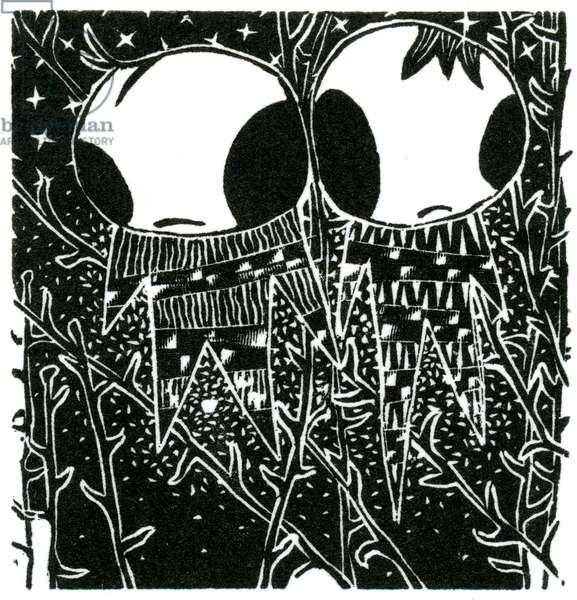 Stargazing Dreamstealers, 2013 (wood engraving on paper)